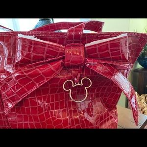 Large Red DISNEYLYLAND Mickey Mouse Bow Tote EUC